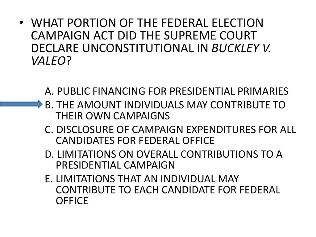 WHAT PORTION OF THE FEDERAL ELECTION CAMPAIGN ACT DID THE SUPREME COURT DECLARE UNCONSTITUTIONAL IN