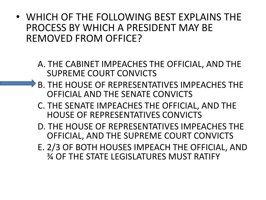 WHICH OF THE FOLLOWING BEST EXPLAINS THE PROCESS BY WHICH A PRESIDENT MAY BE REMOVED FROM OFFICE?