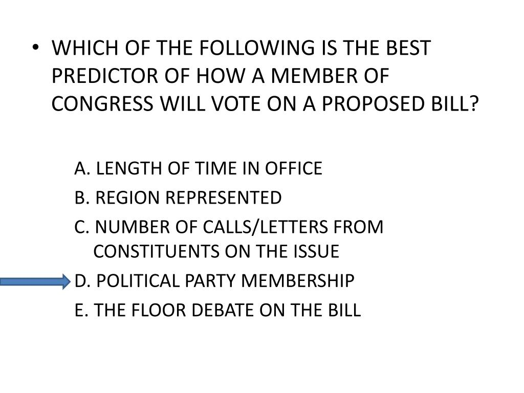 WHICH OF THE FOLLOWING IS THE BEST PREDICTOR OF HOW A MEMBER OF CONGRESS WILL VOTE ON A PROPOSED BILL?