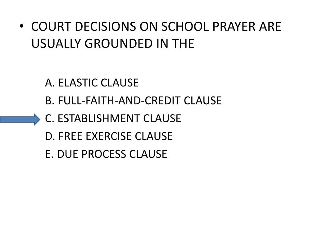 COURT DECISIONS ON SCHOOL PRAYER ARE USUALLY GROUNDED IN THE