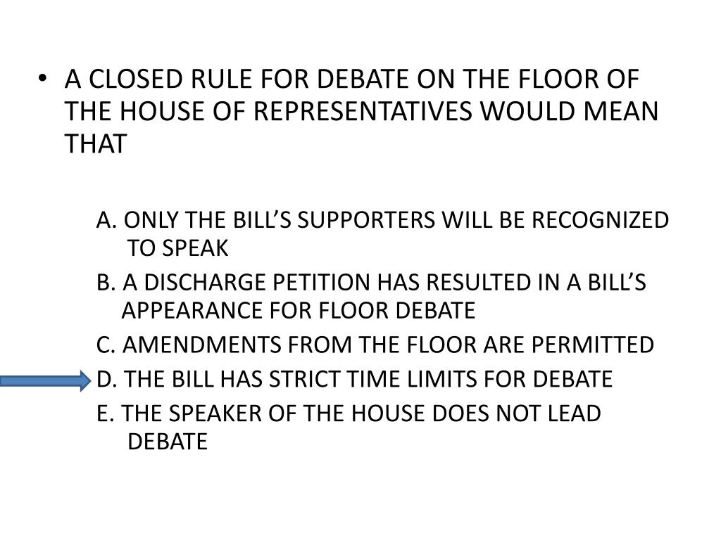 A CLOSED RULE FOR DEBATE ON THE FLOOR OF THE HOUSE OF REPRESENTATIVES WOULD MEAN THAT