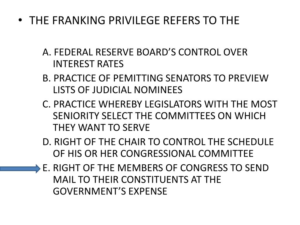 THE FRANKING PRIVILEGE REFERS TO THE