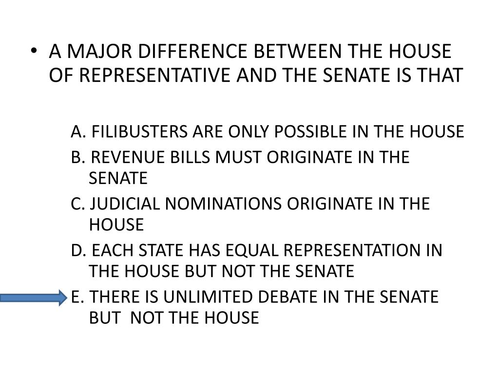 A MAJOR DIFFERENCE BETWEEN THE HOUSE OF REPRESENTATIVE AND THE SENATE IS THAT