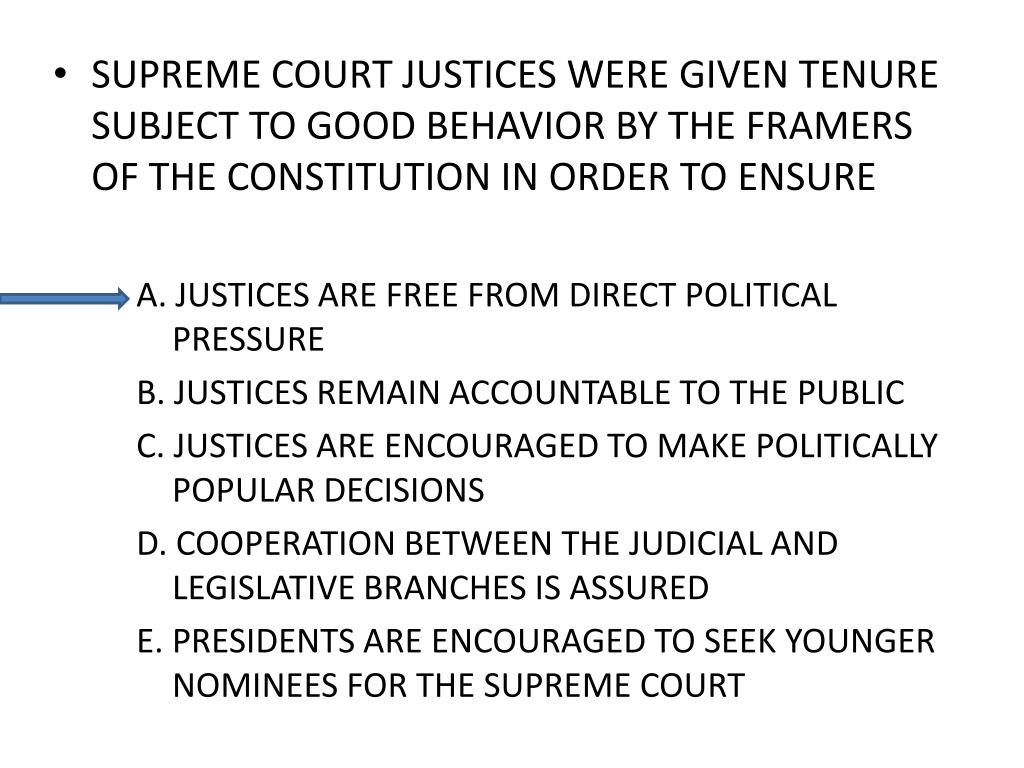 SUPREME COURT JUSTICES WERE GIVEN TENURE SUBJECT TO GOOD BEHAVIOR BY THE FRAMERS OF THE CONSTITUTION IN ORDER TO ENSURE