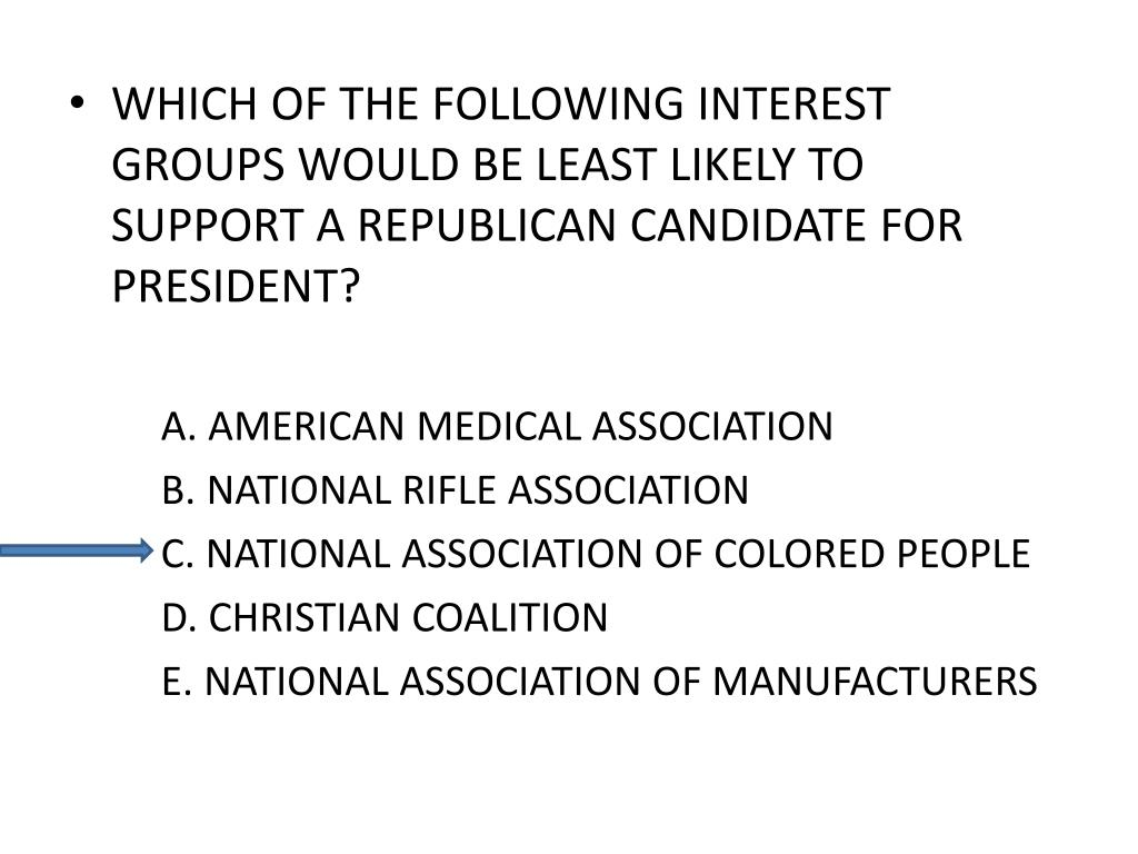 WHICH OF THE FOLLOWING INTEREST GROUPS WOULD BE LEAST LIKELY TO SUPPORT A REPUBLICAN CANDIDATE FOR PRESIDENT?