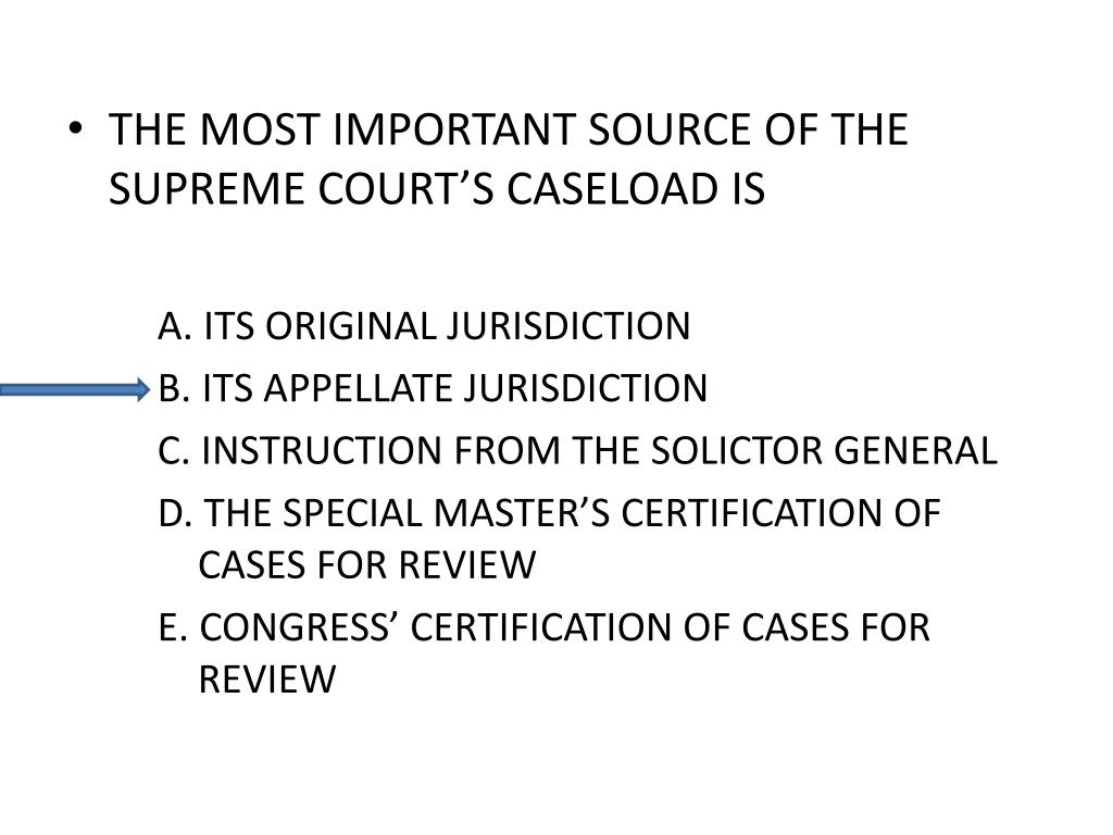 THE MOST IMPORTANT SOURCE OF THE SUPREME COURT'S CASELOAD IS