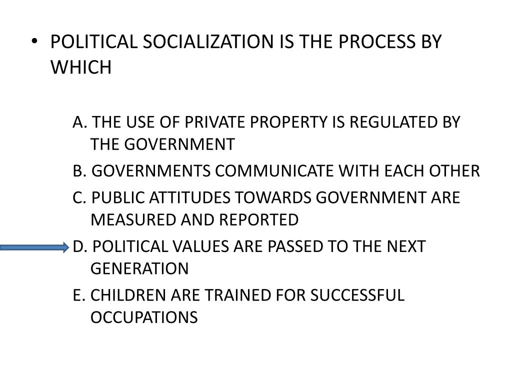 POLITICAL SOCIALIZATION IS THE PROCESS BY WHICH