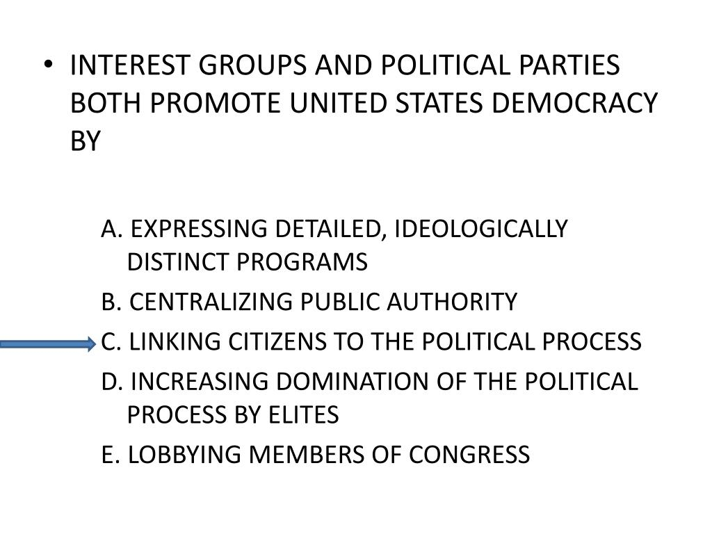 INTEREST GROUPS AND POLITICAL PARTIES BOTH PROMOTE UNITED STATES DEMOCRACY BY