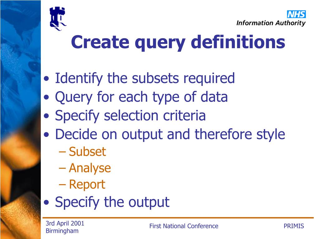 Create query definitions