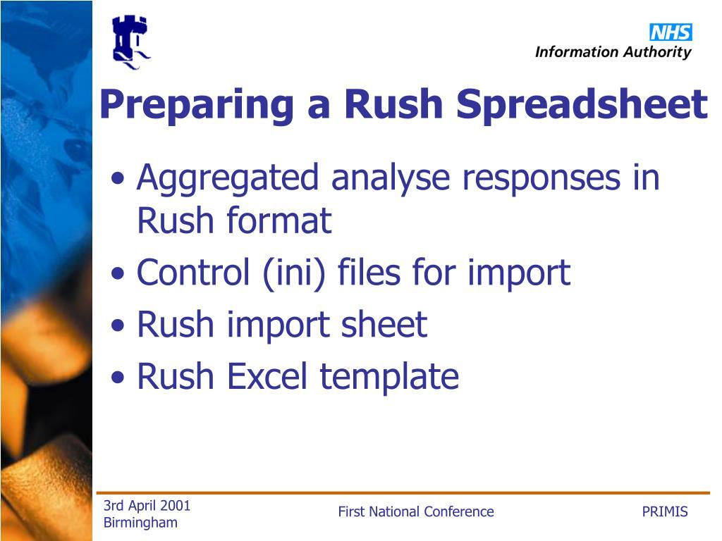 Preparing a Rush Spreadsheet