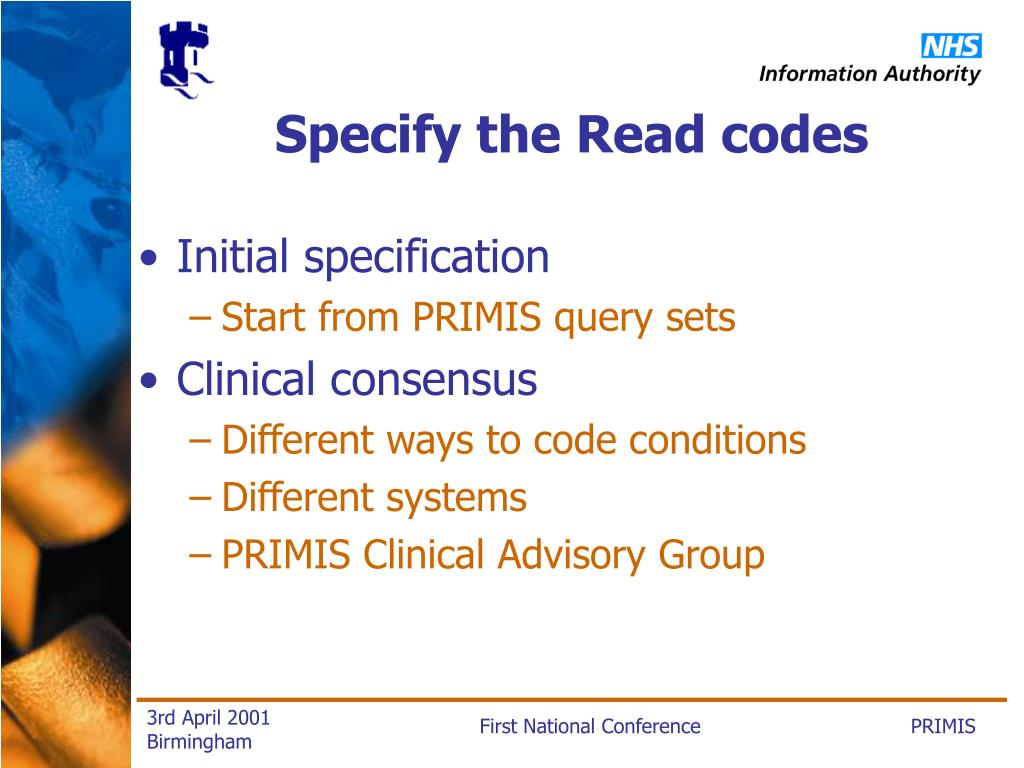 Specify the Read codes
