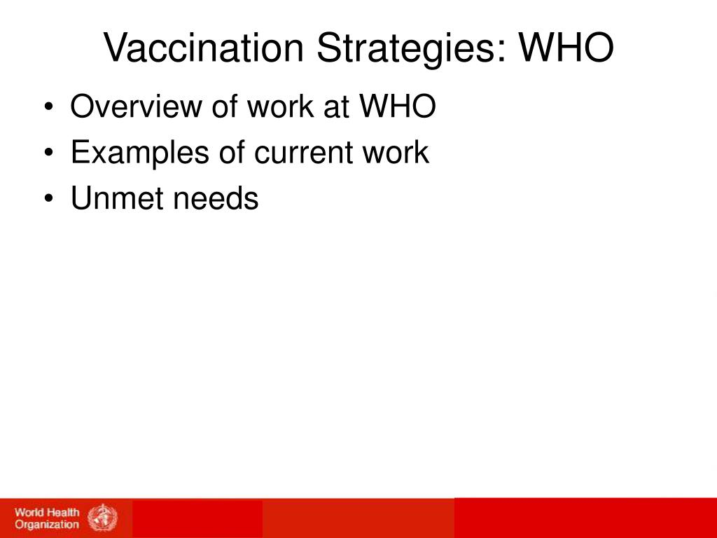 Vaccination Strategies: WHO