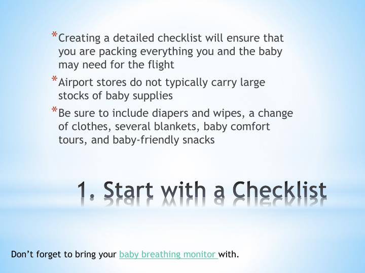 1 start with a checklist