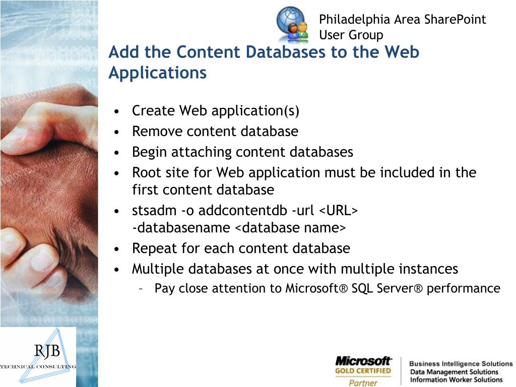 Add the Content Databases to the Web Applications