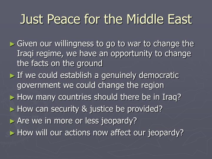 Just Peace for the Middle East