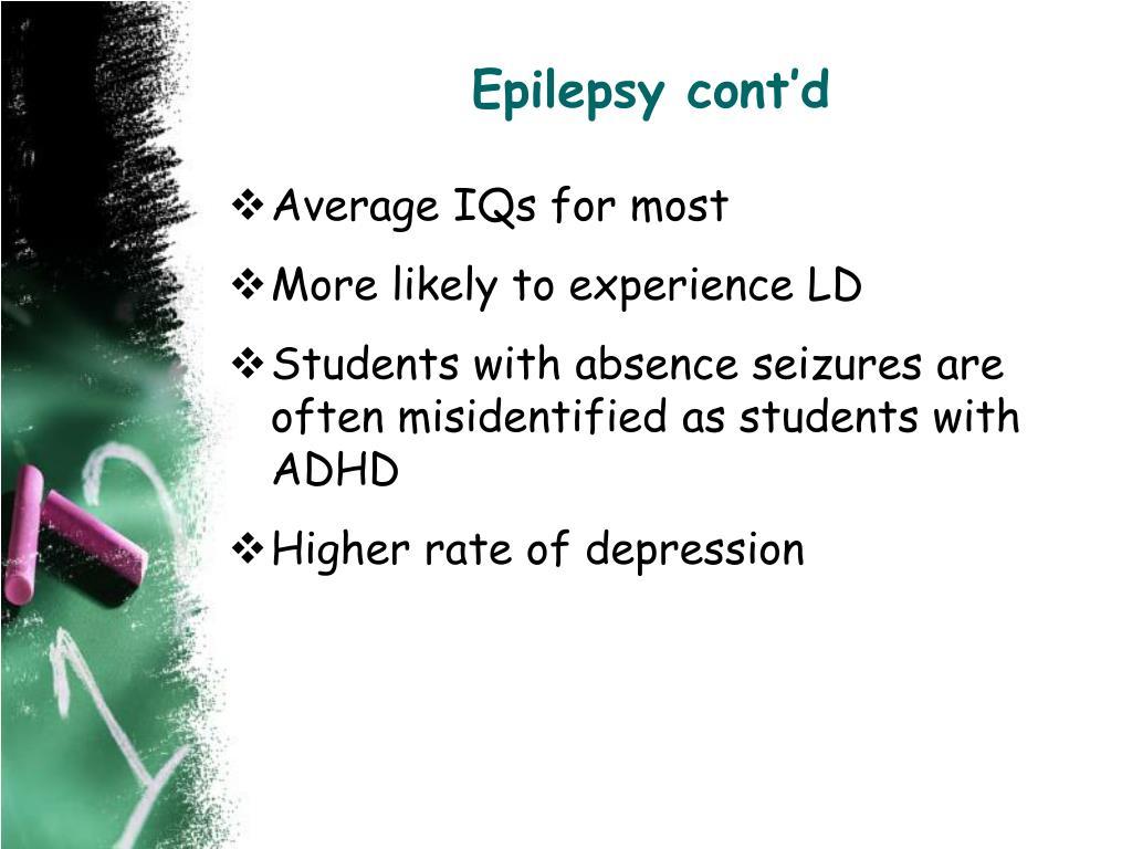 Epilepsy cont'd