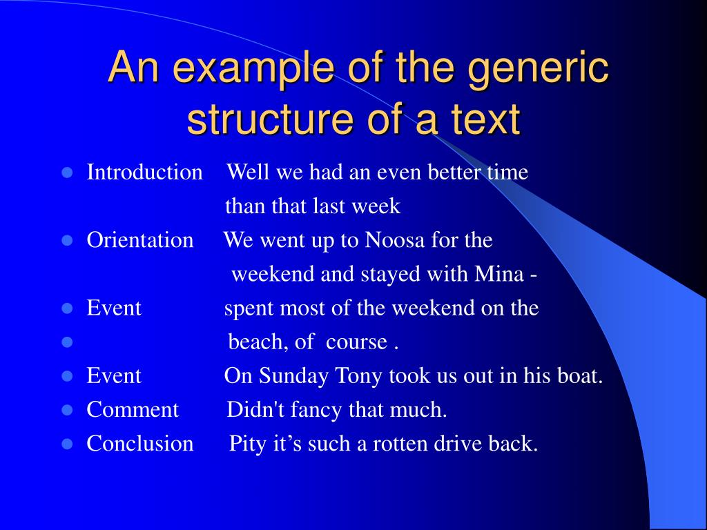 An example of the generic structure of a text