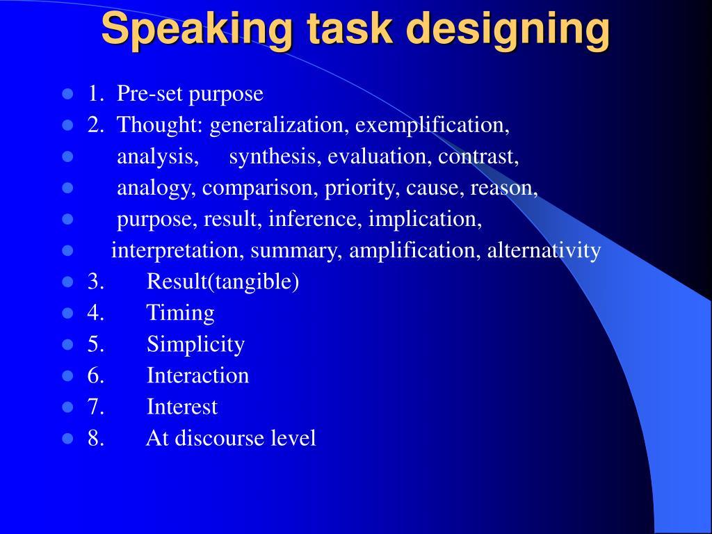 Speaking task designing
