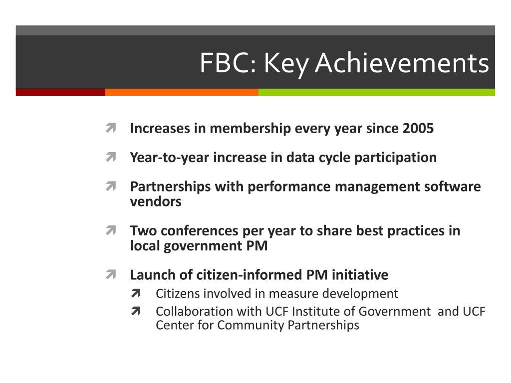 FBC: Key Achievements