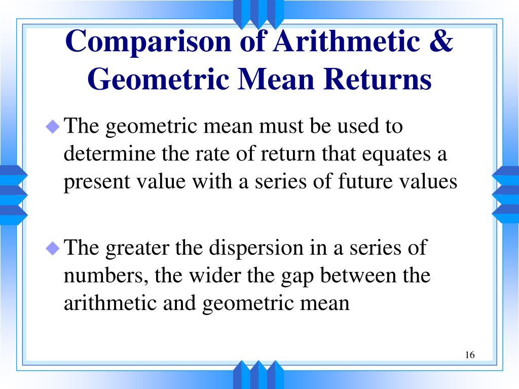 Comparison of Arithmetic &
