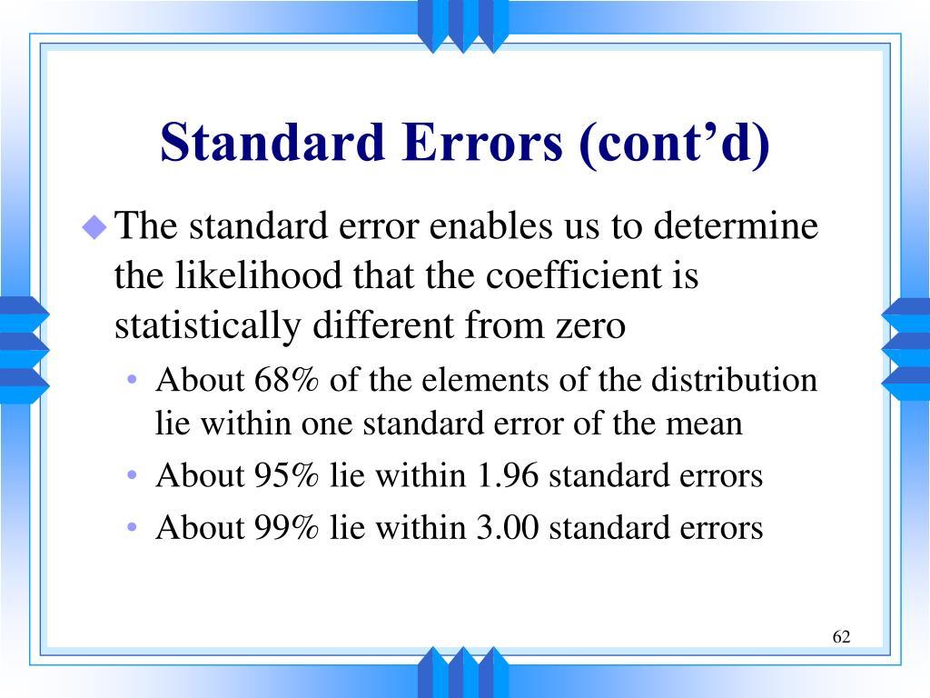 Standard Errors (cont'd)