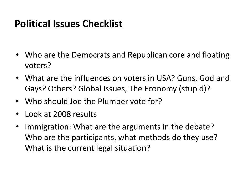 Political Issues Checklist