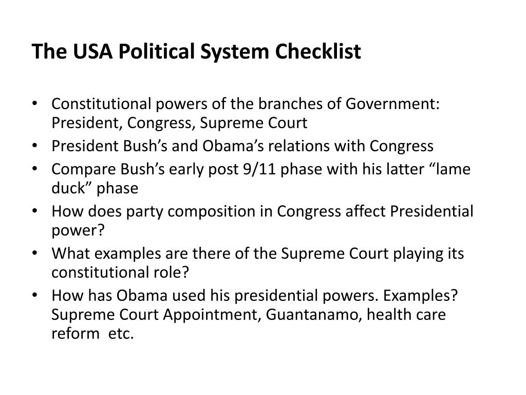 The USA Political System Checklist