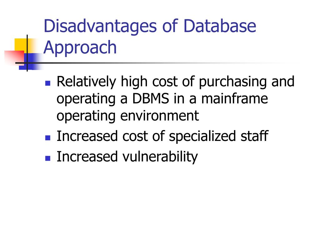 Disadvantages of Database Approach