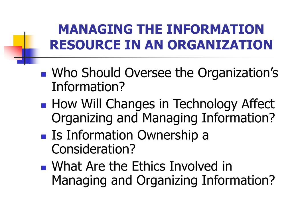 MANAGING THE INFORMATION RESOURCE IN AN ORGANIZATION