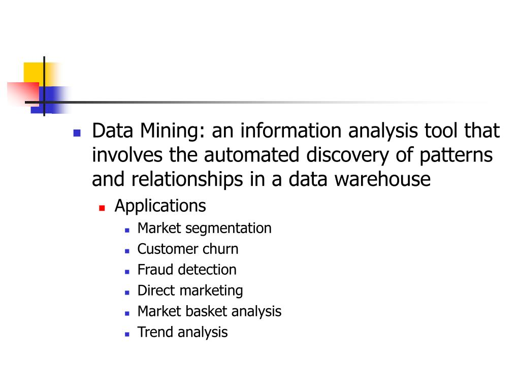 Data Mining: an information analysis tool that involves the automated discovery of patterns and relationships in a data warehouse