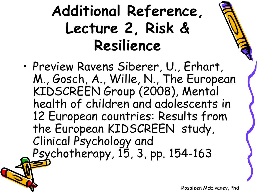 Additional Reference, Lecture 2, Risk & Resilience