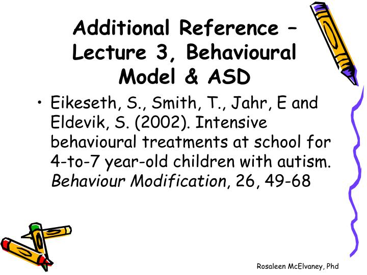 Additional reference lecture 3 behavioural model asd