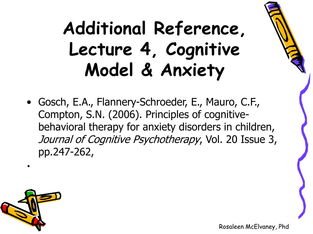 Additional Reference, Lecture 4, Cognitive Model & Anxiety