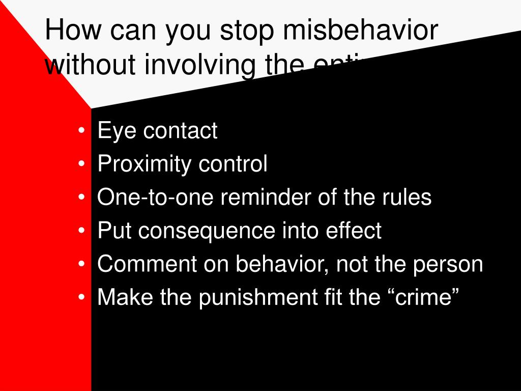 How can you stop misbehavior without involving the entire class?
