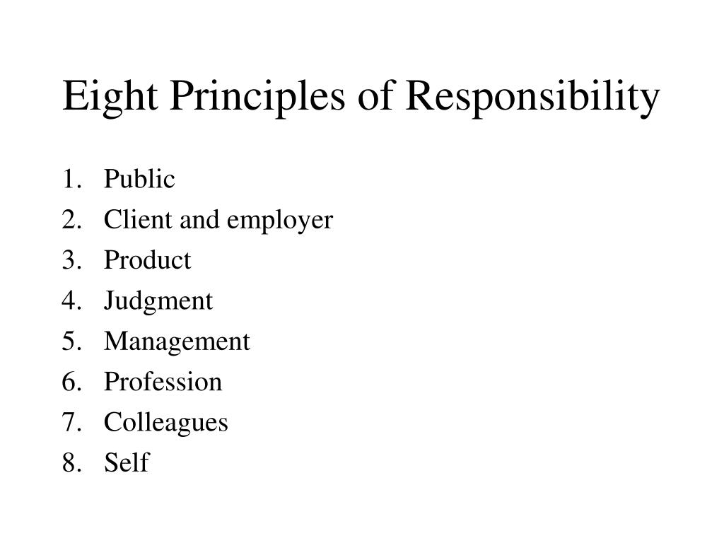 Eight Principles of Responsibility