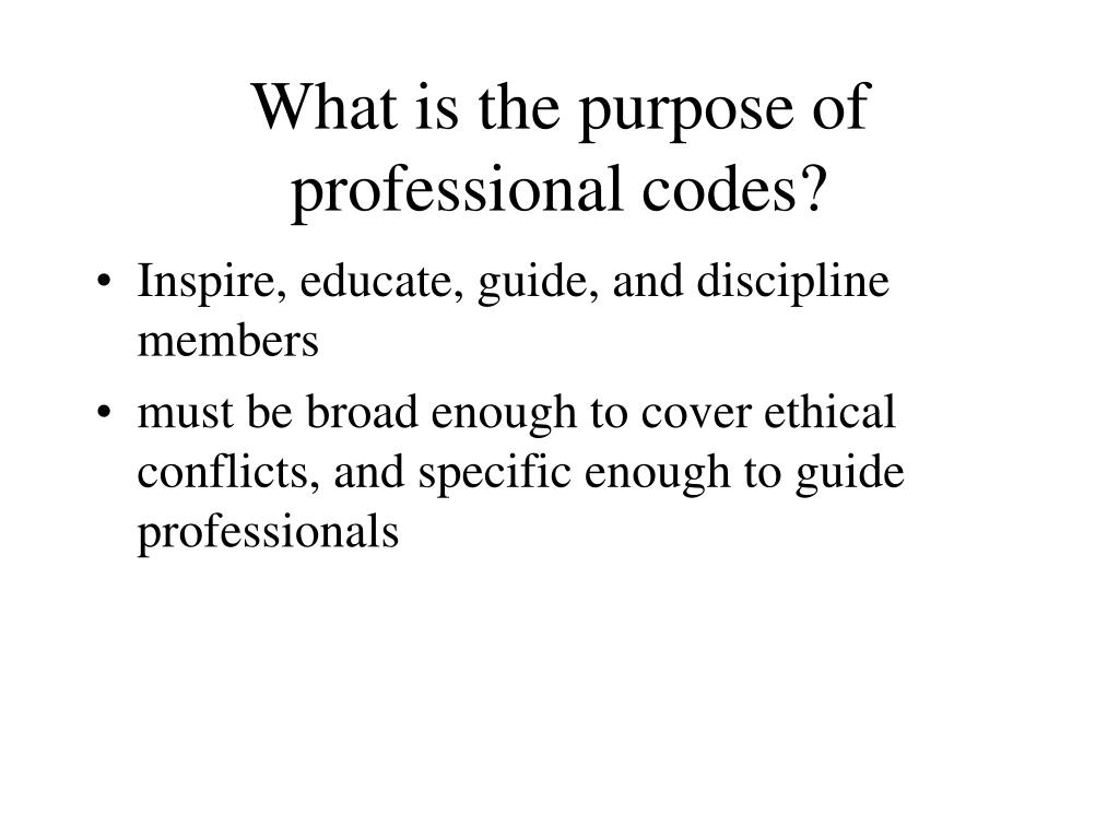 What is the purpose of professional codes?