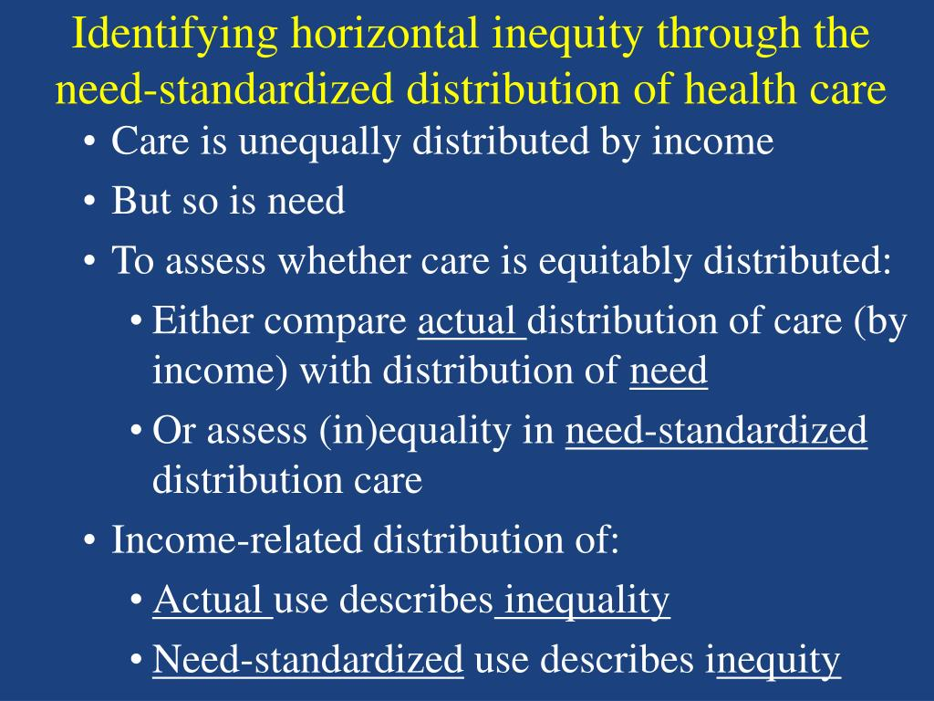 Identifying horizontal inequity through the need-standardized distribution of health care