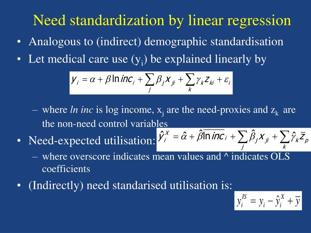Analogous to (indirect) demographic standardisation