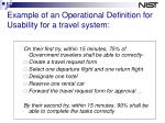 example of an operational definition for usability for a travel system