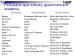 participants span industry government and academia