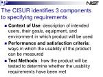 the cisur identifies 3 components to specifying requirements