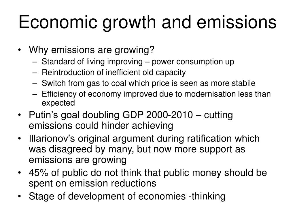 Economic growth and emissions
