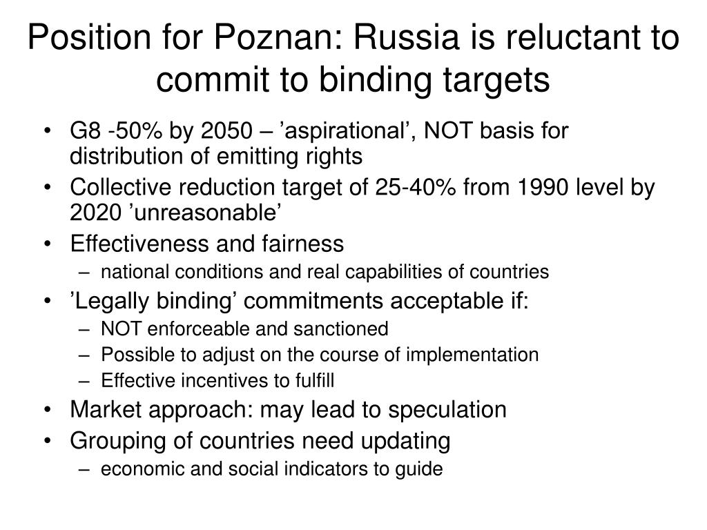 Position for Poznan: Russia is reluctant to commit to binding targets