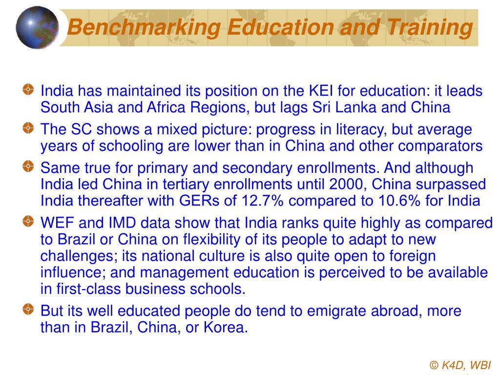 Benchmarking Education and Training