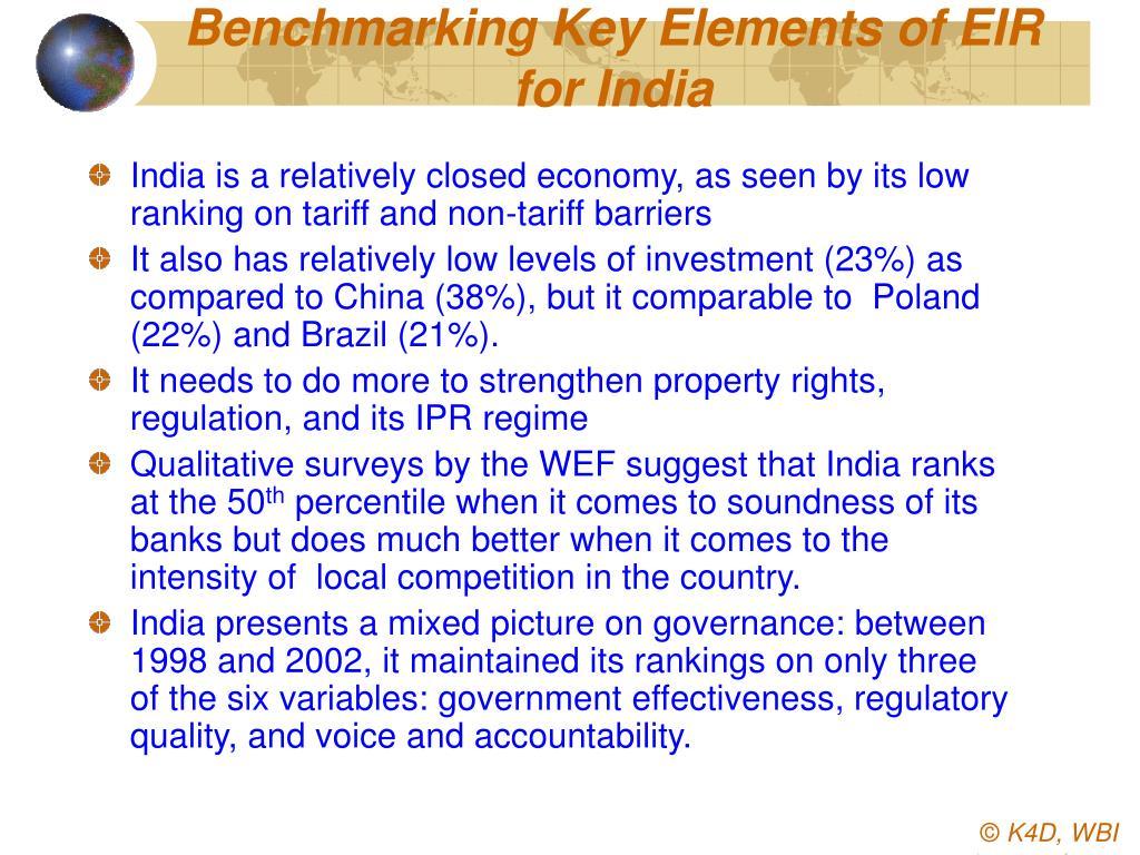 Benchmarking Key Elements of EIR for India