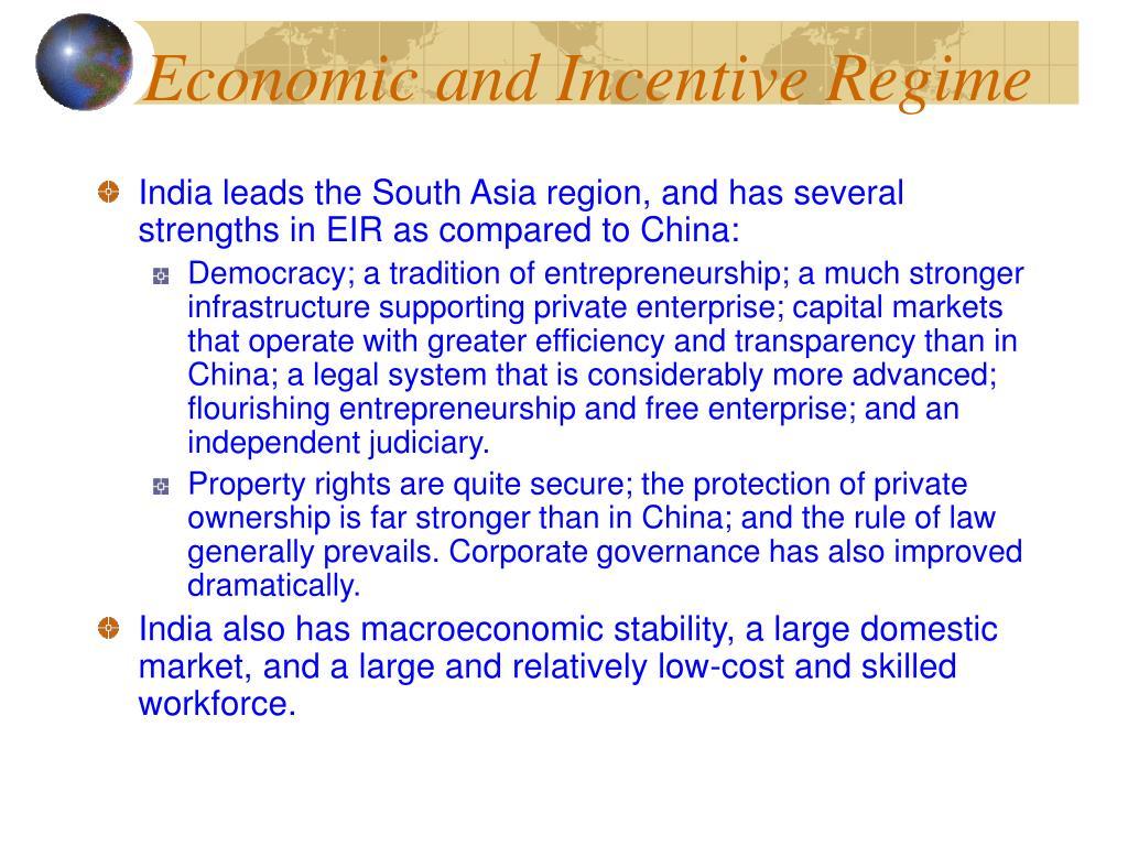 Economic and Incentive Regime