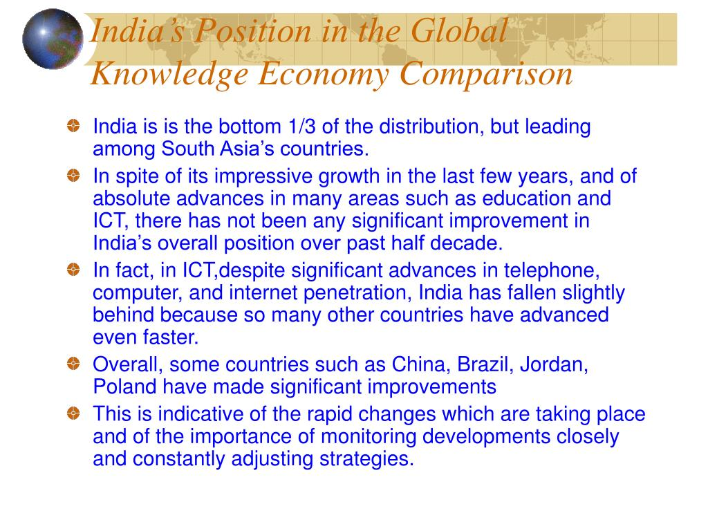 India's Position in the Global Knowledge Economy Comparison