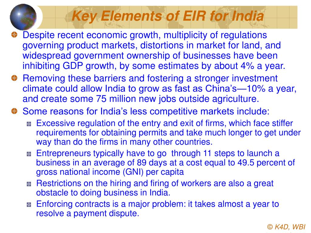 Key Elements of EIR for India