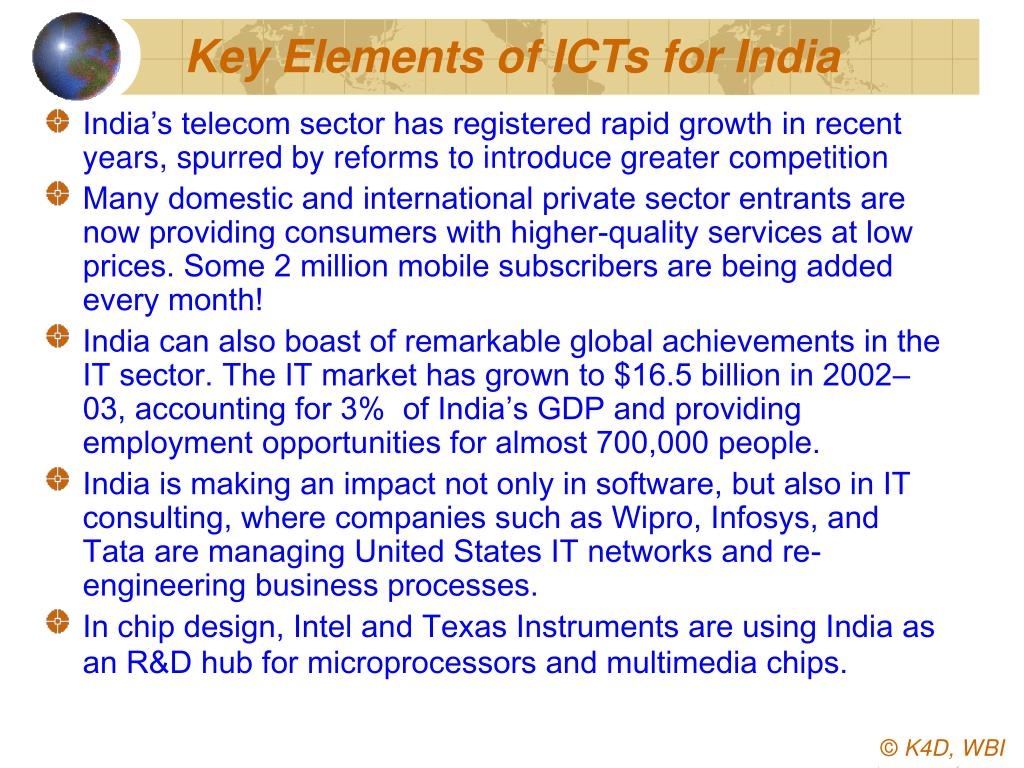Key Elements of ICTs for India