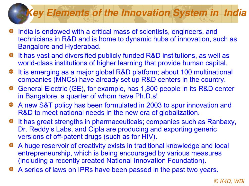 Key Elements of the Innovation System in  India